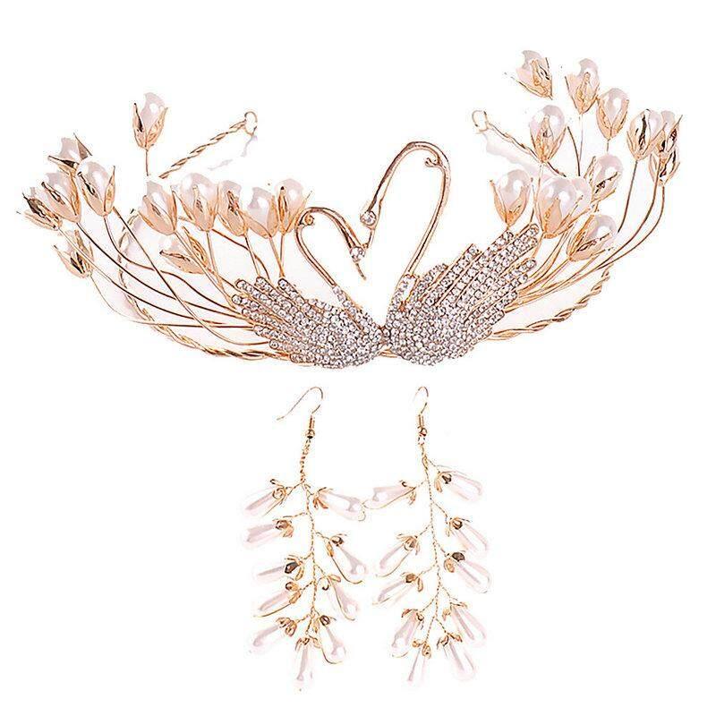 Vàng Vintage Thiên Nga Tóc Ngọc Trai Trang Sức Handmade Cho Tiara Và Vương Miện Nữ Hoàng Tóc Diadem Cô Dâu
