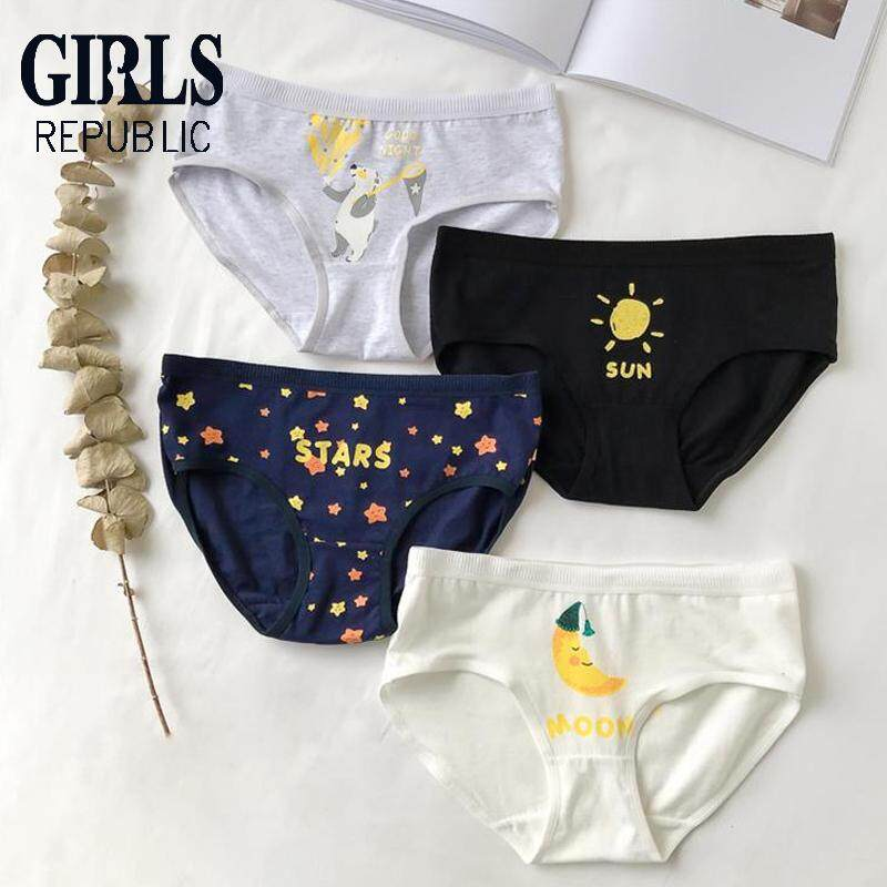 19b5658c3 Girls Republic lowest price Japanese small fresh cute cotton triangle girl  underwear four-piece suit