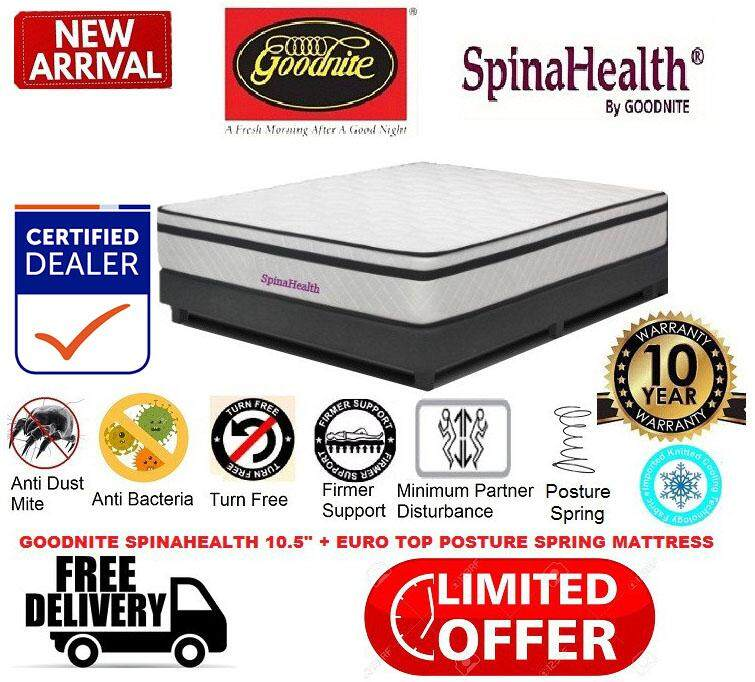 *2019 New Arrival* Goodnite Spinahealth Posture Spring Mattress Euro-Top 10.5 Inch Single/super Single/queen/king Size - 10 Years Warranty By Decowood.