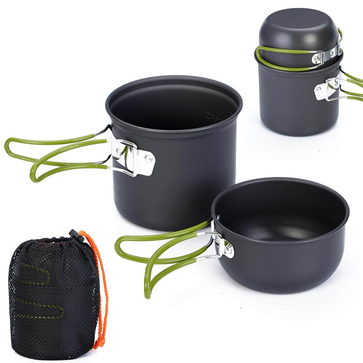 Portable Outdoor Cookware Aluminum Non-stick Pot Cooking Frying Pan Camping Picnic Hiking Utensils With Carry Bag Big Size Elegant In Style Back To Search Resultssports & Entertainment