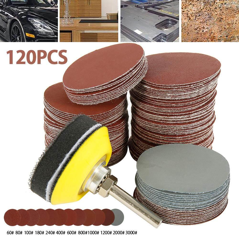 Plate and Sponge Cushion 120pcs 60-3000 Grit 2 Inch Sander Disc Sanding Polishing Pad Sandpaper Tool with Shank Backer