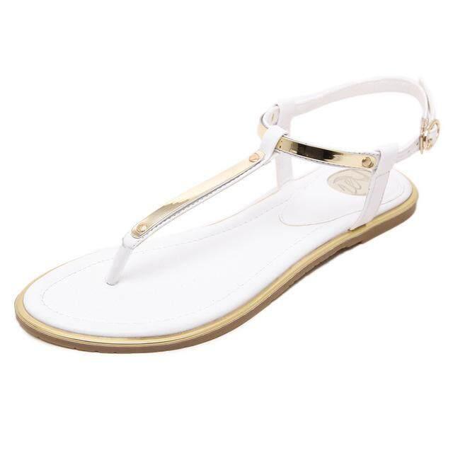 add9f3b9b New 2019 Women sandals sexy thin belt flat sandals for women summer gold  sandals with T