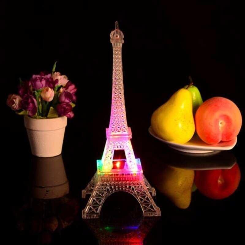 Mini 7 Màu Thay Đổi Tháp Eiffel LED Night Light Lamp Romatic Trang Trí Phòng Ngủ Phong Cách Lãng Mạn Đèn Bàn Phòng Ngủ