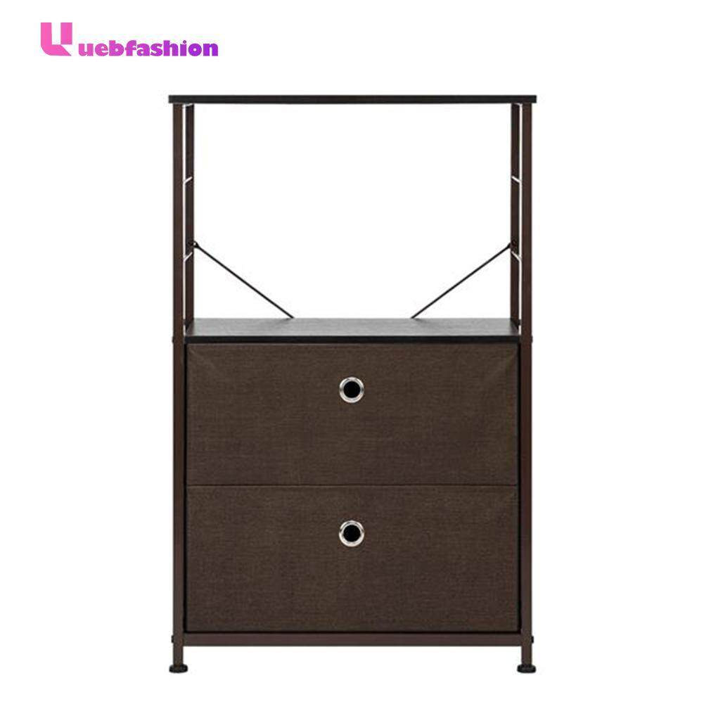 2-Drawer Shelf Storage Nightstands Bedside Furniture Table Chest Brown
