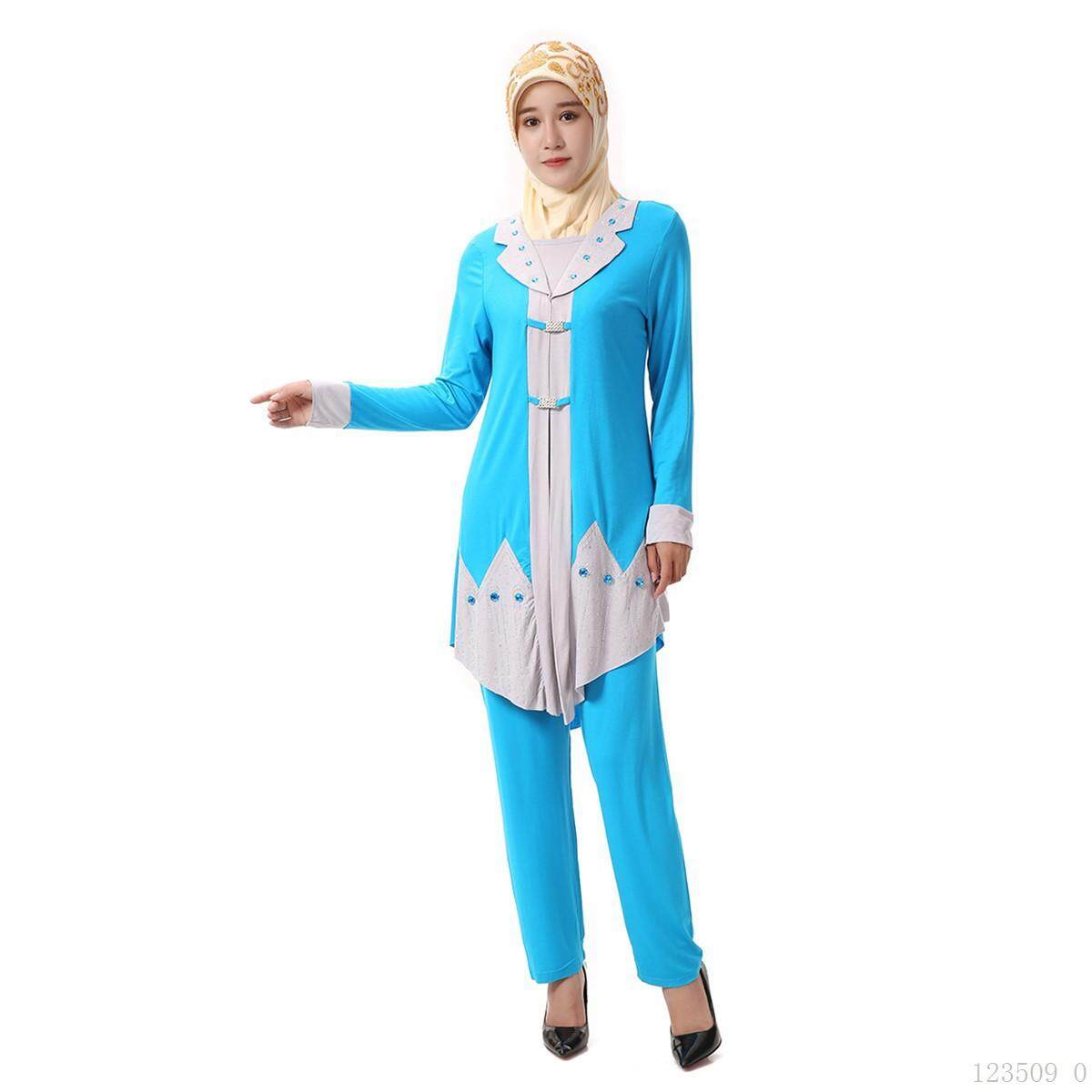 f13baa143ec286 Long-sleeve Women Suit Muslim Women Bar Service Two-piece Set Islamic  Sunday Clothes