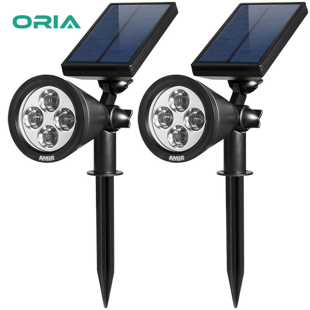 ORIA 2PCS Solar Spotlights Upgraded Solar Garden Lights 2 in 1 Adjustable  Outdoor Waterproof 4 LED Lighting Wall Lights for Yard Driveway Pathway  Pool