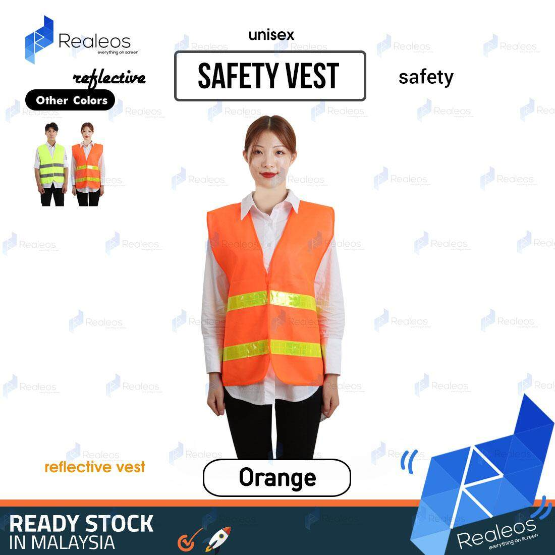 Realeos Night Reflective 360 Degree Safe Vest Jacket Work Construction Motor - RA48