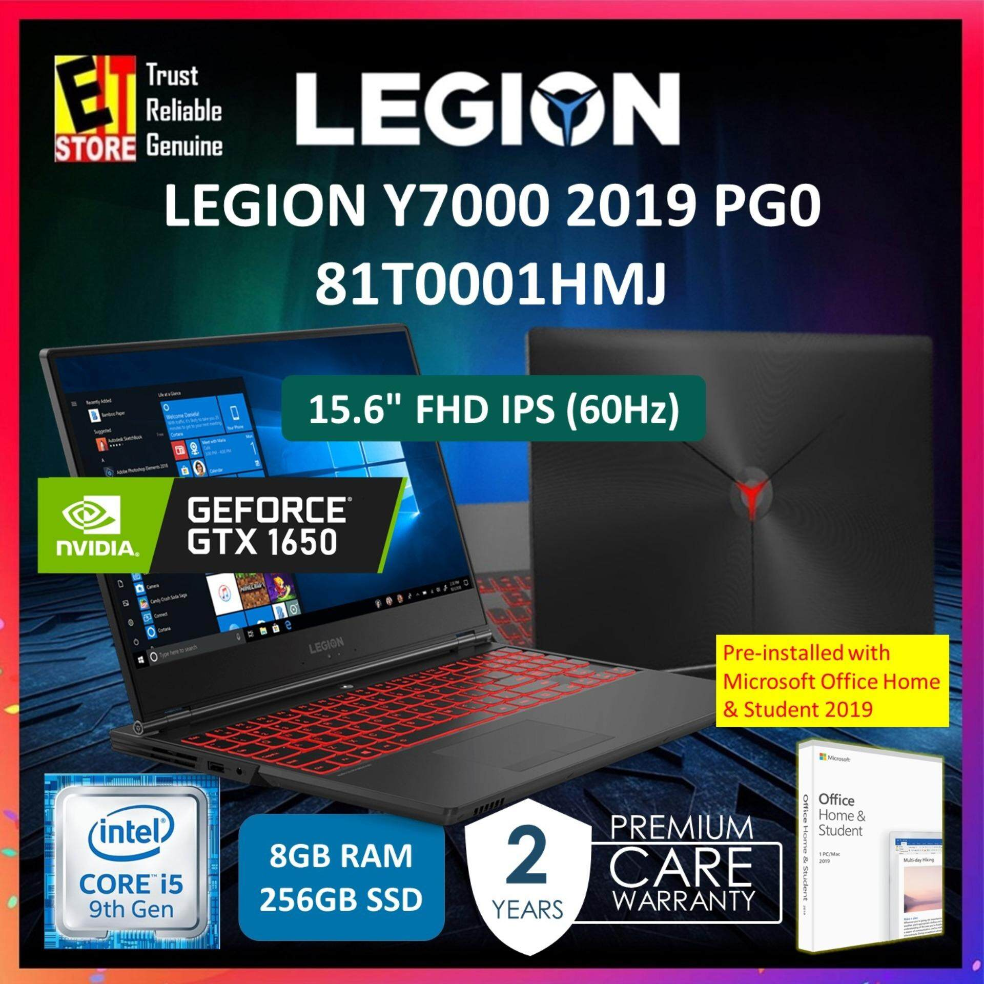 LENOVO LEGION Y7000 Gaming Laptop 81T0001HMJ I5-9300H /8GB/ 256GB PCIe SSD /4GB nVIDIA GTX 1650 /15.6  FHD /W10/2YRS /WITH OFFICE HOME & STUDENT 2019 Malaysia