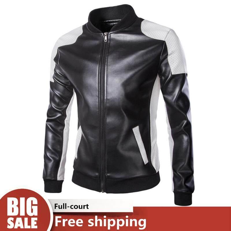 Wjkfgi Fashion Men Motorcycle Leather Zipper Coat Stitching Leather Clothing Slim Leather Jacket 【ready Stock - High Quality 】 By Wjkfgi Store.