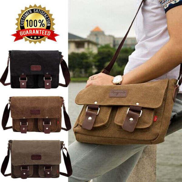 Men Vintage Canvas Laptop Satchel Working Cross body Sling Bag Messenger Shoulder Bag Black