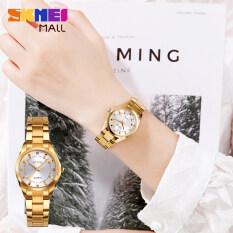 Đồng hồ thạch anh SKMEI 1620 cho nữ, đồng hồ đeo tay mặt kim cương luruxy, dây đeo bằng thép không gỉ, chống nước 30M