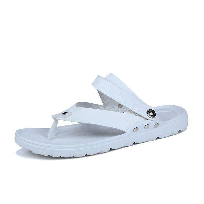 e52ff88e9c3710 HONGKAI Brand Summer Beach Flip Flops Men Pu Leather Slippers Male Flats Sandals  Outdoor Rubber Thong