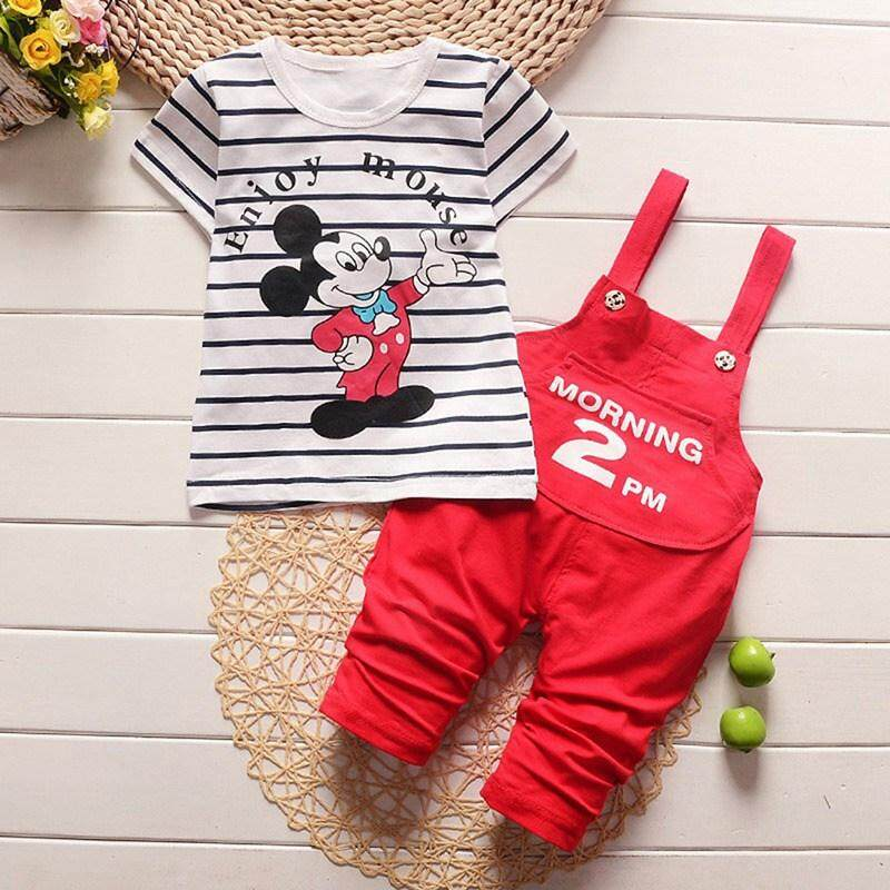 Baby Boys Clothes Suit Stripe Cartoon Dog T-Shirts Shorts pant Sets Outfits
