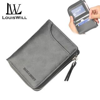 LouisWill Ví Nam Túi Ví Ngắn Da PU Thời Trang Ví Doanh Nhân, Ví Gấp Đôi Ví Cầm Tay PU Có Khóa Kéo Ví Du Lịch Túi Xách Ví Đựng Tiền Xu Ví Đựng Thẻ Tín Dụng ID Cho Nam thumbnail