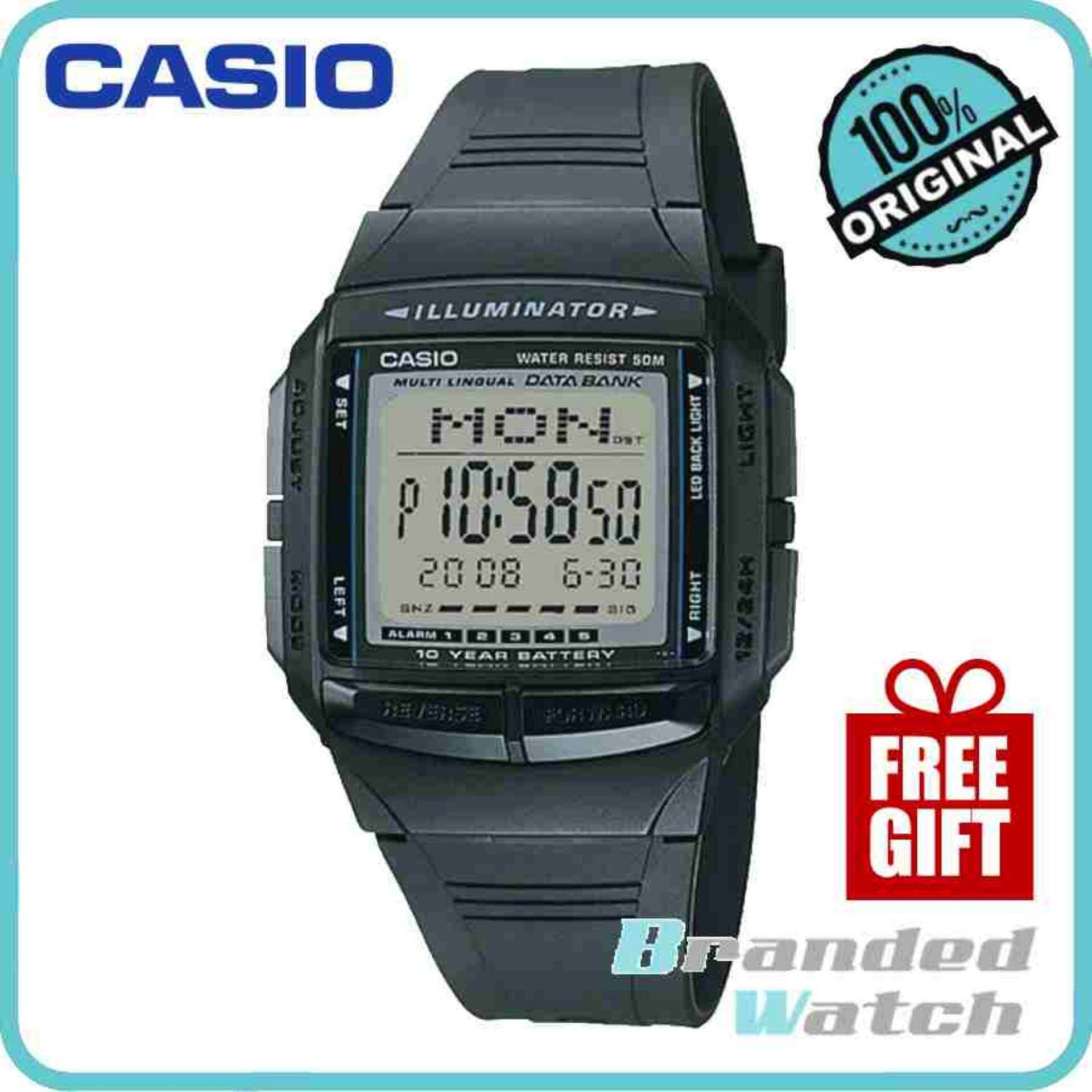 Casio ORIGINAL DB-36-1AVDF Man Data Bank Digital 10 Year Battery Life Casual Resin Watch Kids / Unisex DB-36-1AV DB-36-1A Malaysia
