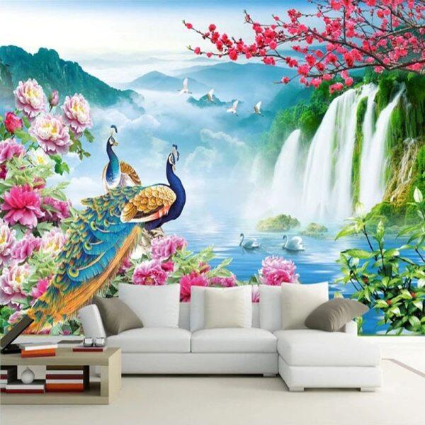 Custom Mural Wallpaper 3D Merak Lukisan Landskap Alam Pemandangan Fresco Ruang Tamu Tv Sofa Kajian Klasik Latar Belakang Dinding 3 D