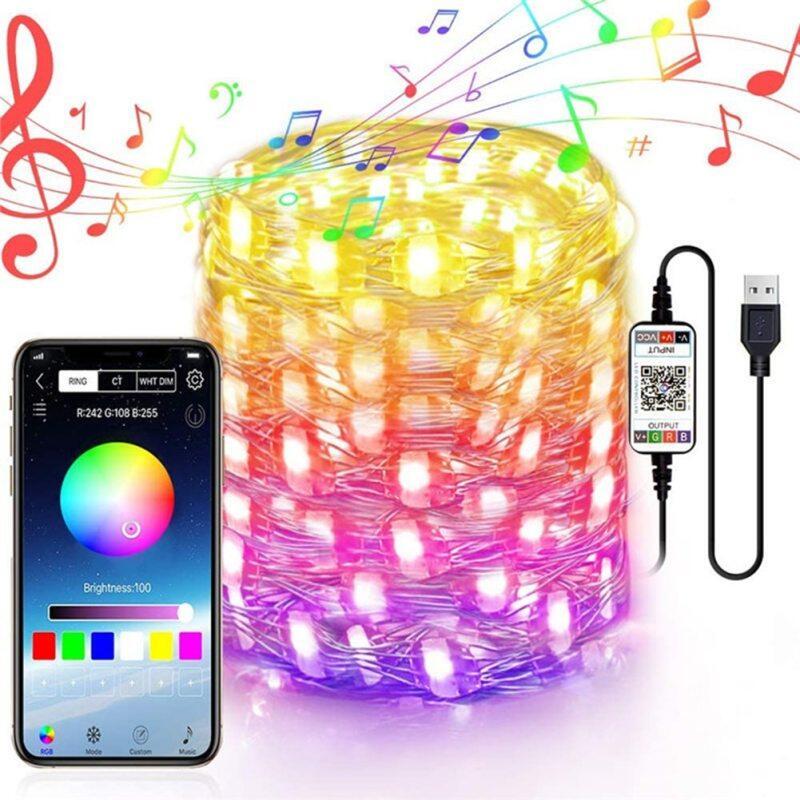 Bảng giá Ứng Dụng Bluetooth Điều Khiển Đèn LED Dạng Chuỗi Dải USB Đèn Cho Phòng Ngủ Đám Cưới Ngày Lễ Trang Trí Cây Giáng Sinh Đèn Dropshipping Phong Vũ