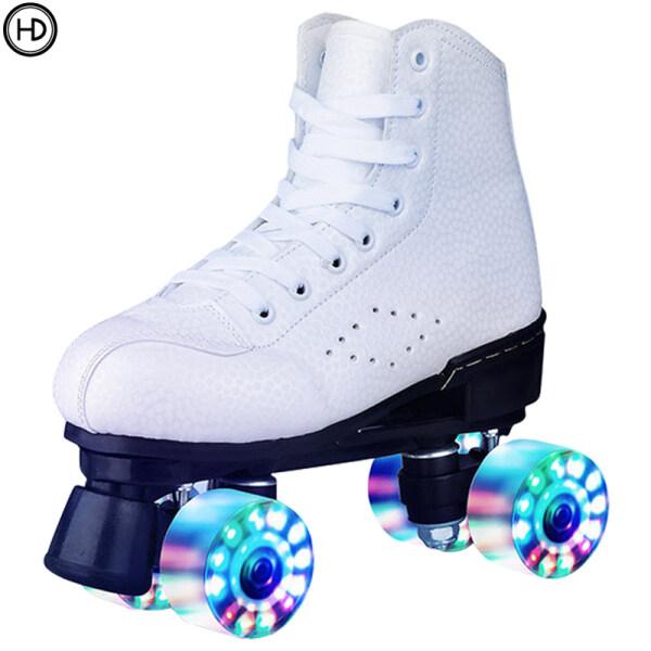 Mua Giày trượt patin đôi giày patin bốn bánh dành cho nam và nữ dành cho người lớn giày patin hai hàng bằng da chống mài mòn bánh xe nhấp nháy