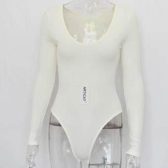 9f1f56607a28 การส่งเสริม Articat Off Shoulder Ribbed Knitted Sexy Bodysuit Women Black V  Neck Autumn Slim Rompers Womens Jumpsuit Winter Basic Bodysuits ซื้อที่ไหน  ...