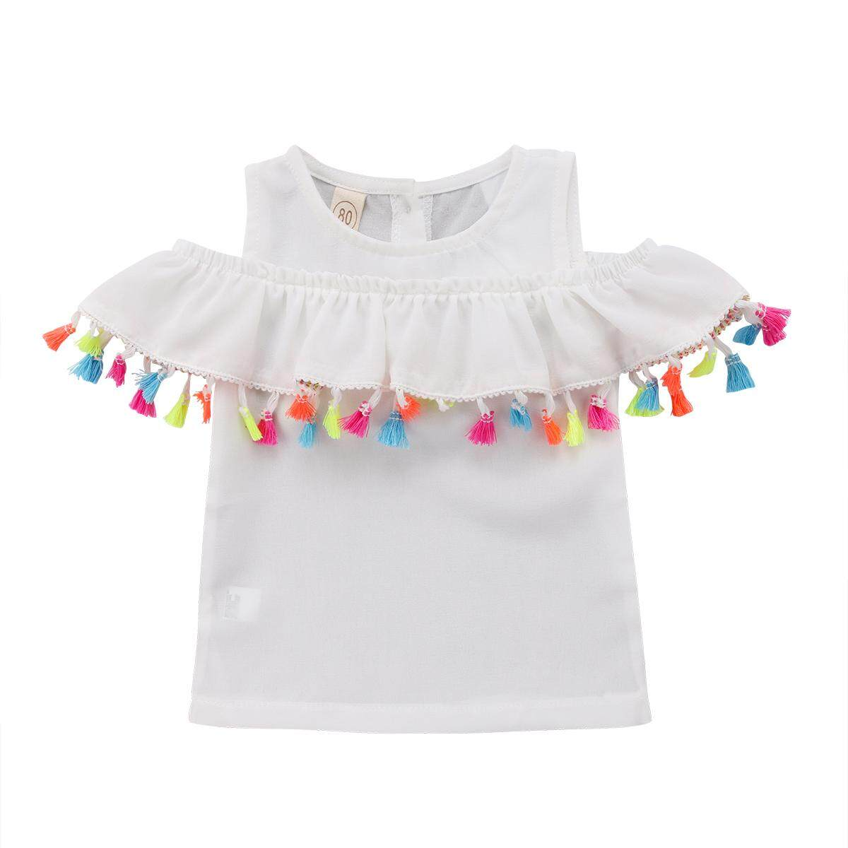 Kids Baby Girl White Blue Outfit Shirt Off-Shoulder Tassels T-Shirt Clothes By Gm Mall.