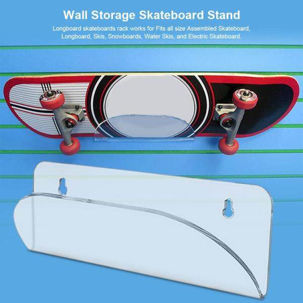 DHOME Longboard Skateboards Wall Mount Invisible Clear Wall Hanger Display Rack for Storing Your Skateboard or Longboard Skate