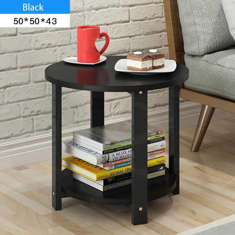 RuYiYu - 50X50X43cm, 2 Layer Round Coffee Table, Multi-color Optional, Black Metal Frame, Coffe Table