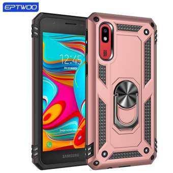 EPTWOO สำหรับ Samsung Galaxy A2 แม่เหล็กแหวนเกราะเคสโทรศัพท์แบบแข็งทนทานกลับเคสโทรศัพท์-