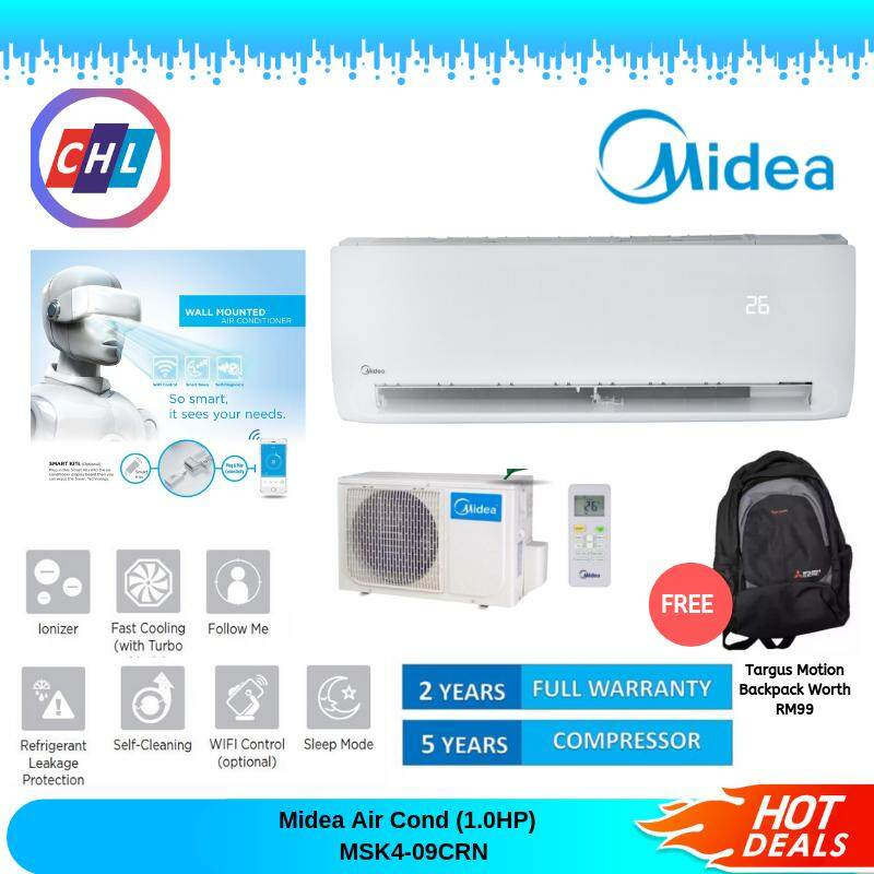 Midea Air Cond MSK4-09CRN (1.0HP) + Free Targus Motion Backpack Worth RM99