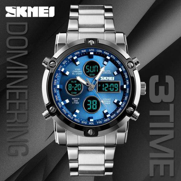 SKMEI Luxury Brand Mens Watches Dual Time Zone LED Backlight Timer Men Watch Fashion Casual Sports Waterproof Quartz Clock Men Watch Stainless Steel Wristband Men Watch Malaysia