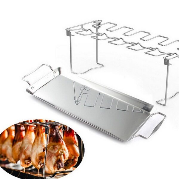 Stainless Steel Chicken Wing Leg Rack Grill Holder with Drip Pan for BBQ Rib Non-stick