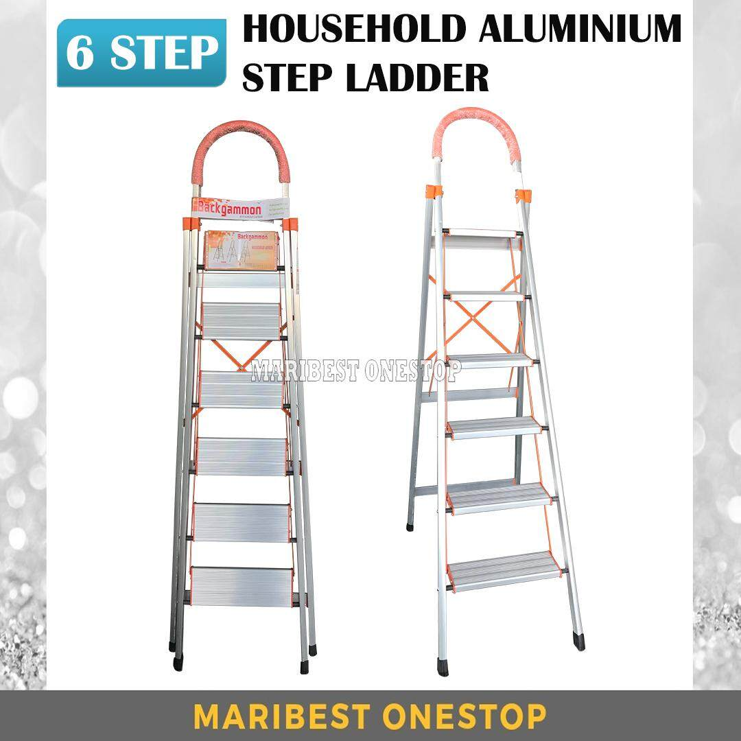 6 Step Household Aluminium Step Ladder with Hand Grip HL006