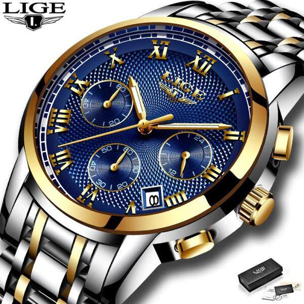 LIGE Fashion Sports Men Watches Top Brand  Stainless Steel Luminous Waterproof Analog Quartz Jam Tangan Lelaki Malaysia