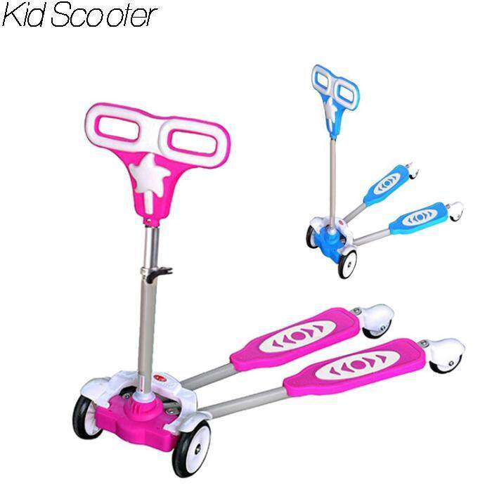 High Quality Top Grade 4 S Frog Scooter Kid Scooter Toy Bicycle Pink Normal Wheel By Blue Sand.