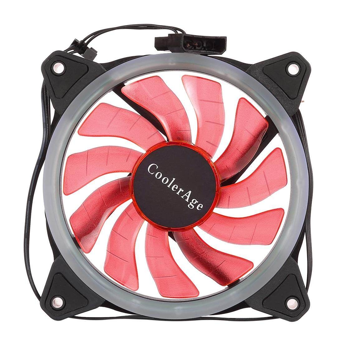 Color LED 12cm 3pin Computer Components Chassis Fan Computer Host Cooling Fan Silent Fan Cooling, with Power Connection Cable & Red Light(Red)