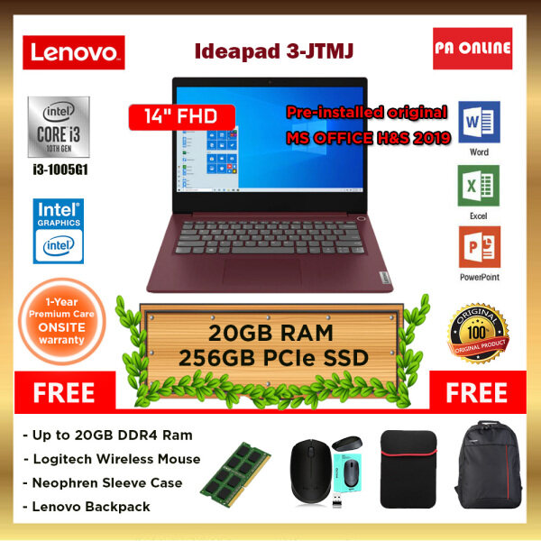 Lenovo Ideapad 3 IP3 -14IIL05 81WD00JTMJ -(20GB RAM) -Intel Core i3-1005G1 /4GB-20GB RAM /256GB SSD /Intel UHD /14 FHD /Win 10 /Ms Office /1 Year Malaysia