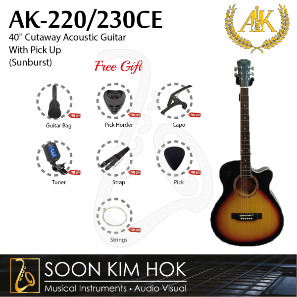 A&K AK-220/230CE 40 Cutaway Acoustic Guitar With Pick Up (Sunburst) (AK220/230CE) Malaysia