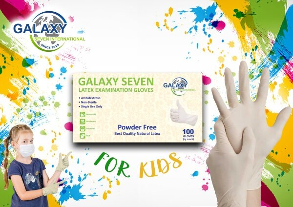 GALAXY SEVEN LATEX EXAMINATION KIDS GLOVES WITH CE (100 PCS)