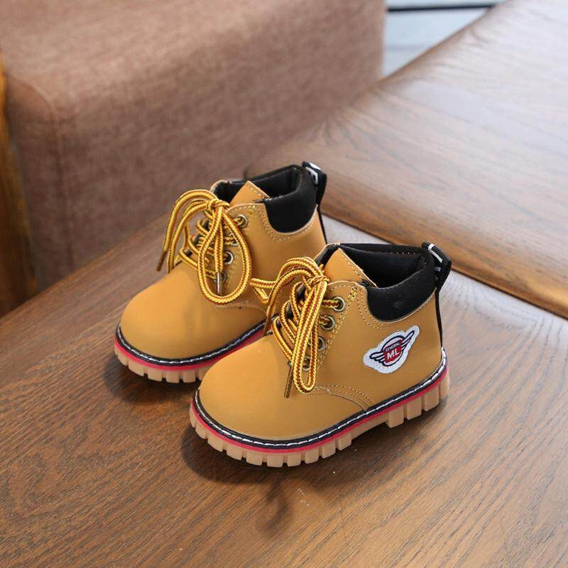 f3b96e22113dc Comfy kids winter Fashion Child Leather Snow Boots For Girls Boys Warm  Martin Boots Shoes Casual Plush Child Baby Toddler Shoe