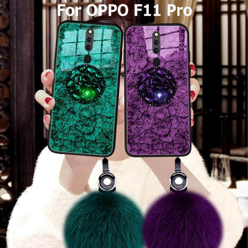 Giá For OPPO F11 Pro Marble Soft Case【Fur Ball & Airbag Bracket】Gold Foil Drops Glue