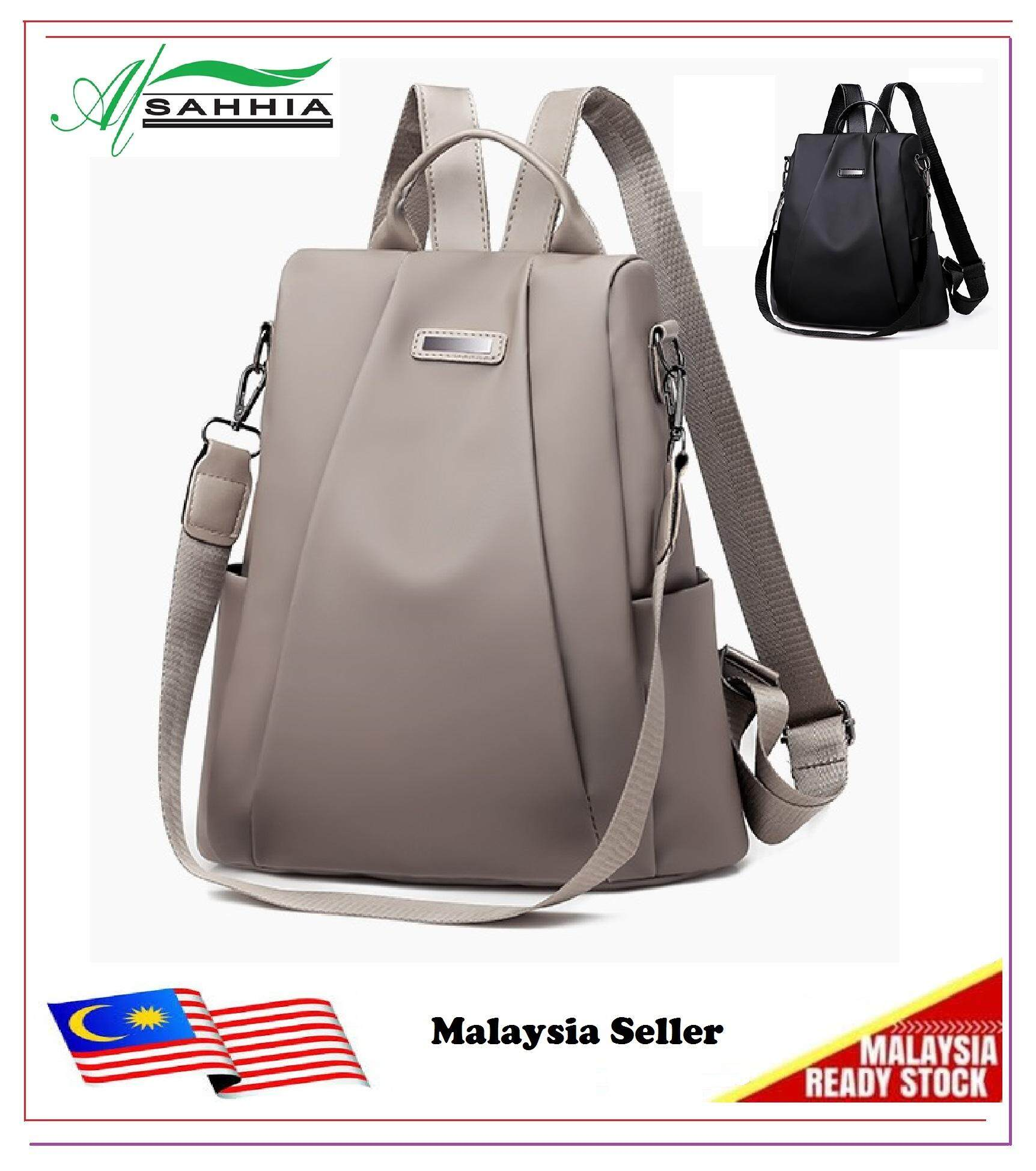 63f09f2677f2 3R4 Al Sahhia Ready Stock Plain Oxford Cloth Anti Theft Backpack Casual  Lady Beg