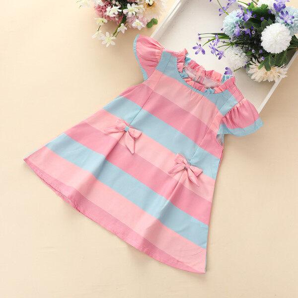 Giá bán Váy Bé Gái [COD] Đầm Thường Ngày Công Chúa Nơ Kẻ Sọc Tay Xòe Xếp Nếp Cho Bé Gái Trẻ Mới Biết Đi Miễn Phí Vận Chuyển