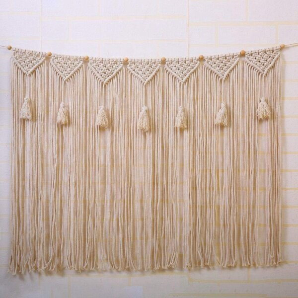 Macrame Wall Hanging Wall Tapestry Large Bohemian Wall Decoration for Wedding Backdrop Curtain Fringe Garland Banner Bedroom Living Room Gallery Baby Nursery 39 Inch L x 28 Inch W