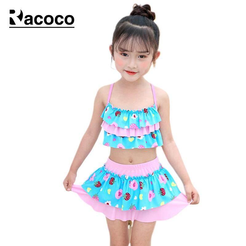 Giá bán Racoco Bé Gái Đồ Bơi Sọc In Đồ Bơi Nhanh khô Sling Áo + Váy Bơi Trẻ Em Bộ