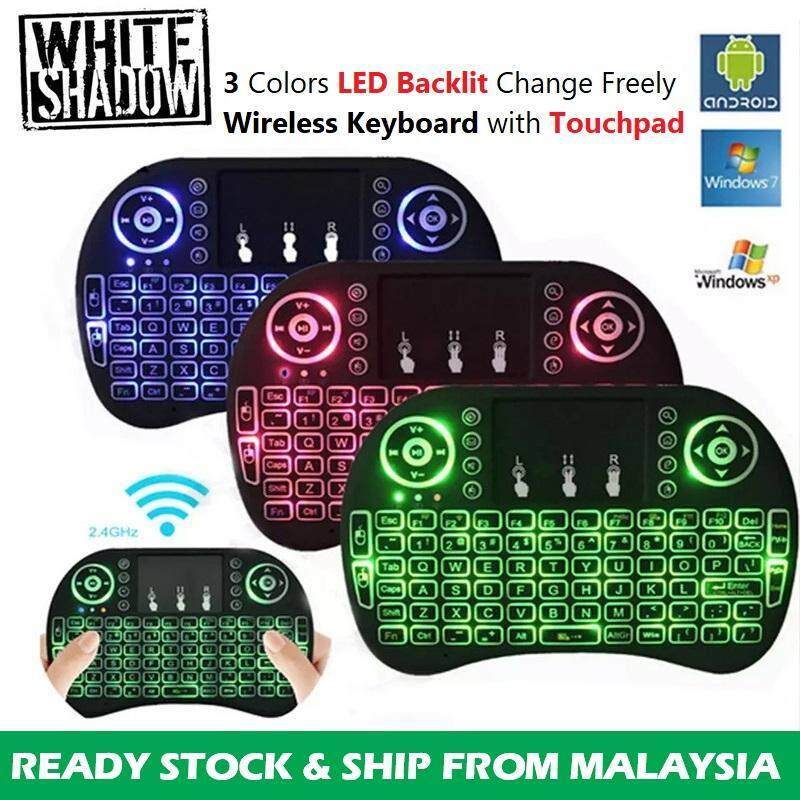 i8 Mini Keyboard Backlit 2.4GHz Wireless Keyboard Air Mouse Touchpad for Android TV BOX with Battery Malaysia