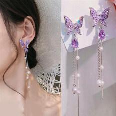 Thời Trang Sáng Bóng Bướm Rhinestone Drop Earrings Đối Với Phụ Nữ Thanh Lịch Ngọc Trai Tua Pendientes Đảng Jewelry