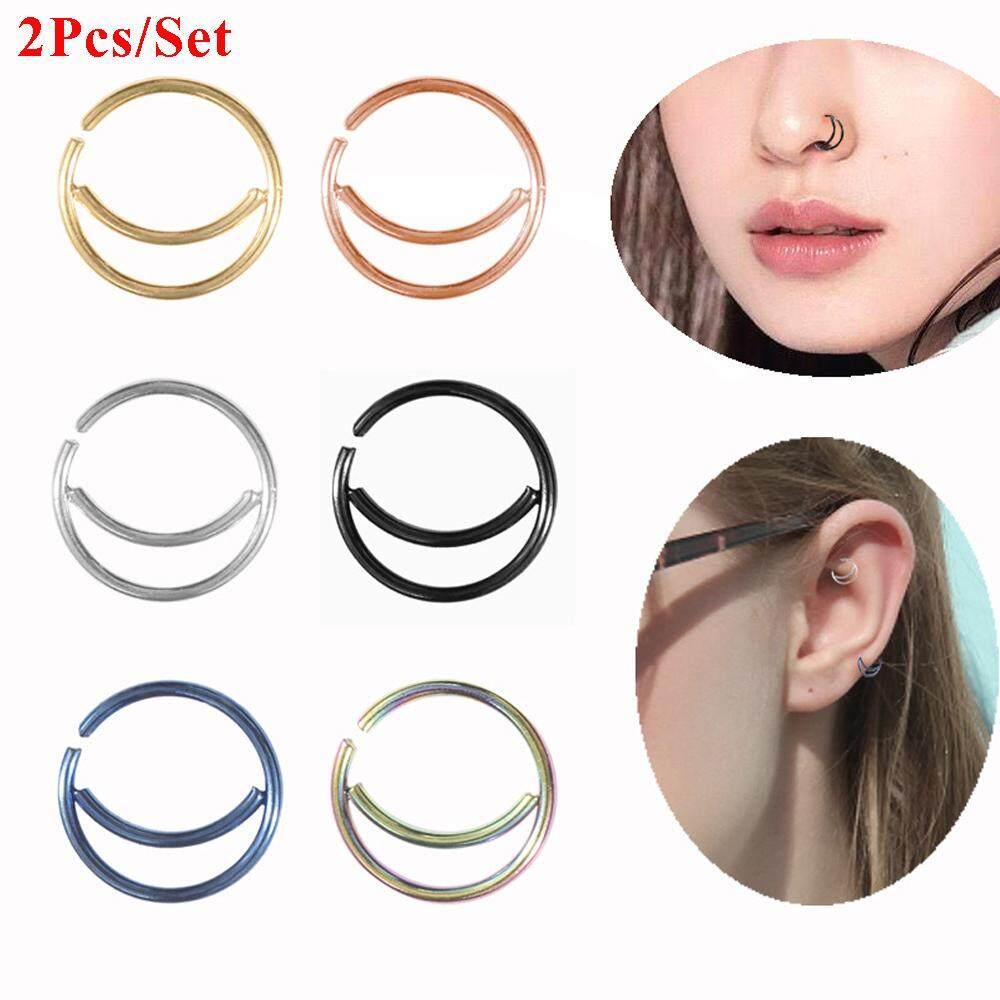 2pcs Thin Tiny Women Men 8 10mm Body Jewelry Moon Nose Ring Small
