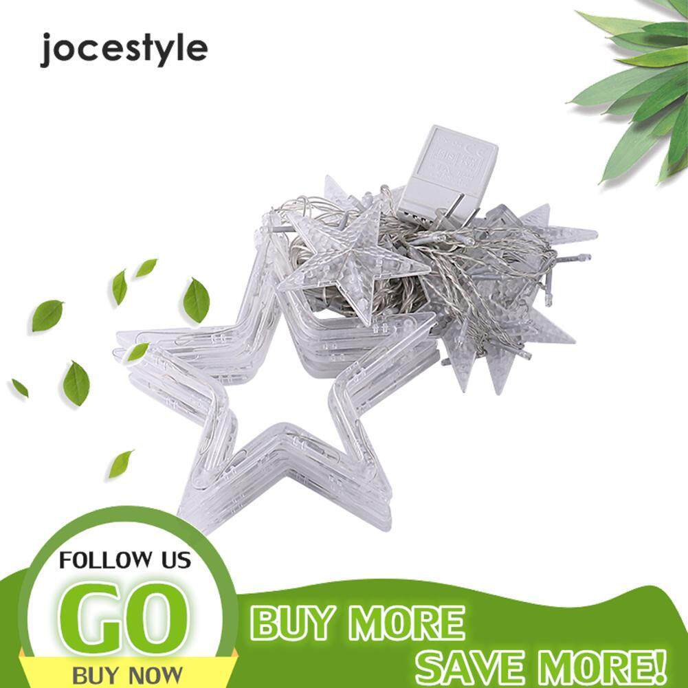 【Jocestyle】Lampu Tali Peri LED Bintang Bulan Warna-warni Putih Hangat Lampu Gorden Malam Natal untuk Rumah Kamar Tidur