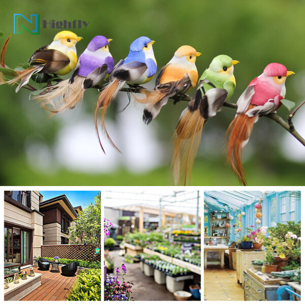 【Hot Sale】12Pcs Lovely Simulation Bird Tree Binding Artificial Bird Decor Craft for Plant Home Decoration