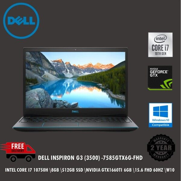 Dell Inspiron 15 G3 3500-7585GTX6G-W10 15.6 FHD Gaming Laptop Eclipse Black ( I7-10750H, 8GB, 512GB SSD, GTX1660Ti 6GB, W10 ) Malaysia