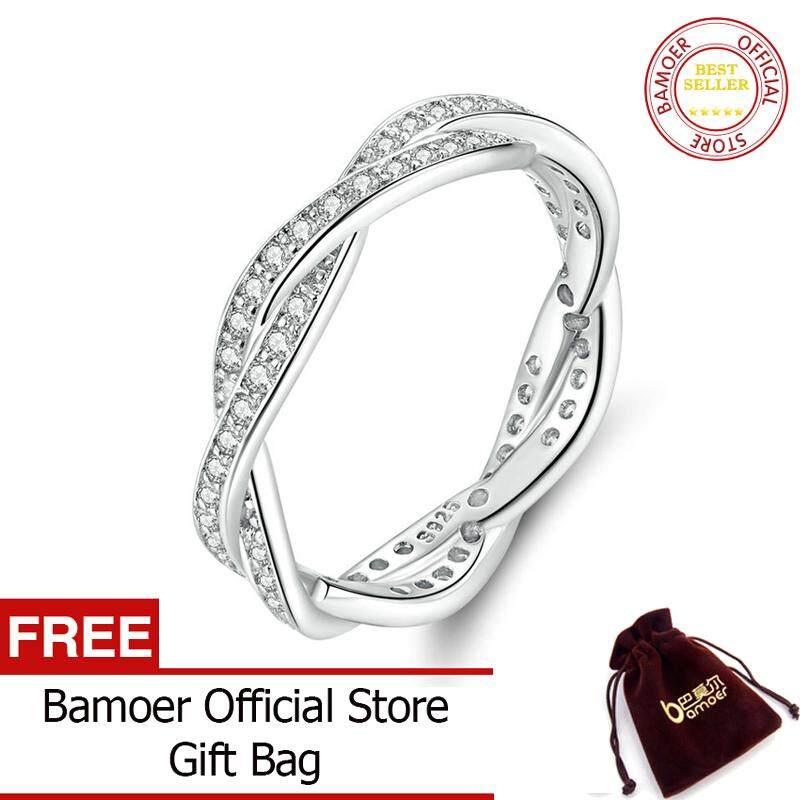 BAMOER Nhẫn xoắn mạ bạch kim đính kim cương nhân tạo AAA màu bạc cho nữ trang sức thời trang PA7222